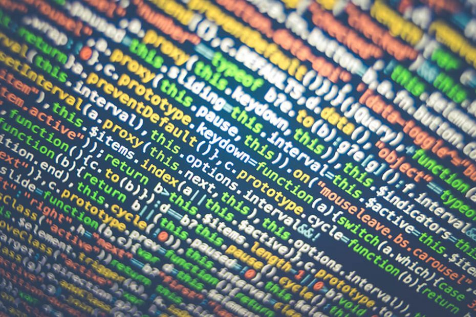 Colourful code on screen for post about data privacy