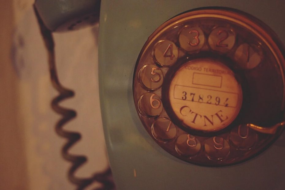 Call Reluctance an old bule telephone is picture to show a fear of calling by salespeople