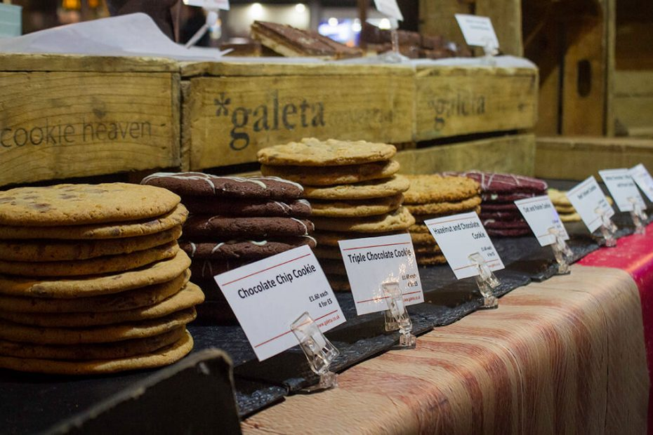 cookies lined up on market stall