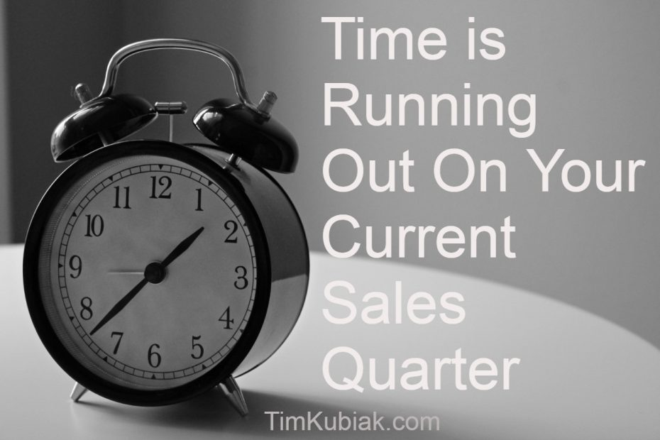 Time is Running Out On Your Current Sales Quarter text with an alarm clock in the back ground