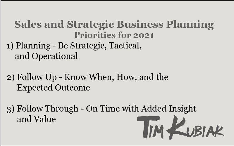 Sales and Strategic Business Planning Priorities for 2021 1)Planning - Be strategic, tactical and operational 2) Follow Up - Know When How and the Expected Outcome 3) Follow Through - On time with added insight and value.